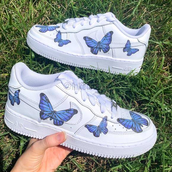 Nike Shoes Air Force 1 Custom Blue Butterfly Sneaker Poshmark